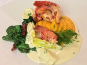 Sauteed Lobster on Dilled Sweet Potato Mash, Leek Cream and Sauteed Spinach with Bacon