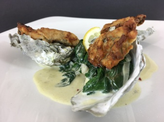 Fried Oysters on Creamed Spinach