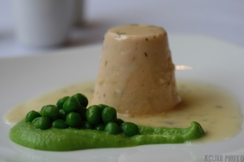Salmon Timbal with Beurre Blance and Pea Puree